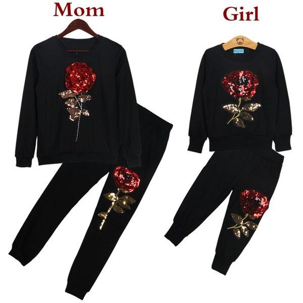 スウェットシャツ+パンツ2PCSスーツ2017新しい冬スタイルのファミリーマッチングの服マザーと娘ロングS1