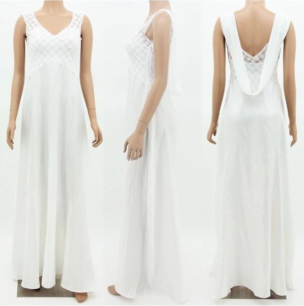 Deep-V Elegant Womens Lace Wedding Dress Sleeveless Chiffon Long Dress White Black