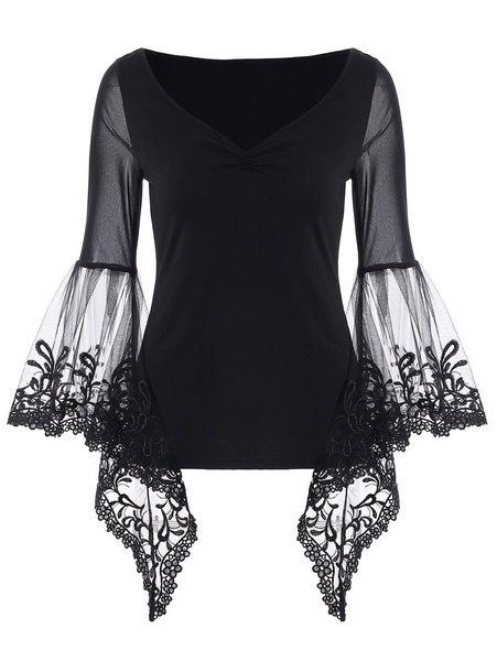 女性ファッションVネックベルスリーブシアーレースパネルトップTシャツ
