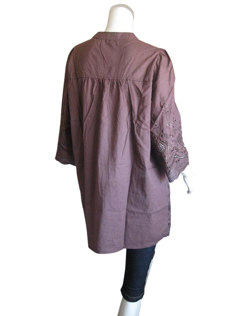 レースや刺繍が豪華 綿100% 七分袖チュニック 2色(チュニック丈ブラウス/ワンピース)