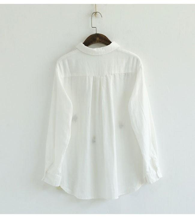 レディース服 女性 ファッション トップス 上着 秋服 韓国風 シャツ 刺繍 可愛い ワイシャツ 白 花柄 丸首 ガーリー 森ガール 長袖 麻 薄手