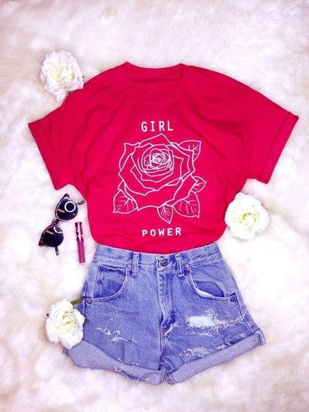 女性の女の子パワーローズプリントTシャツ女性のカジュアルトップス