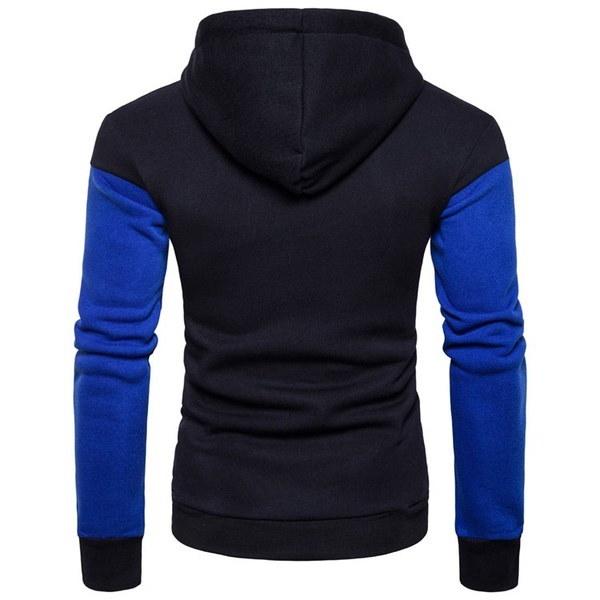 メンズファッションカジュアルスリムコットン高品質スポーツプリントステッチプルオーバーフード付きスエットシャツ