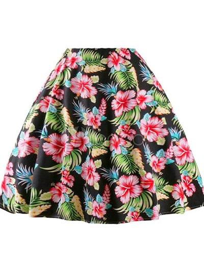 マルチカラーフレアワンピース花柄プリントスパンデックスヴィンテージドレス