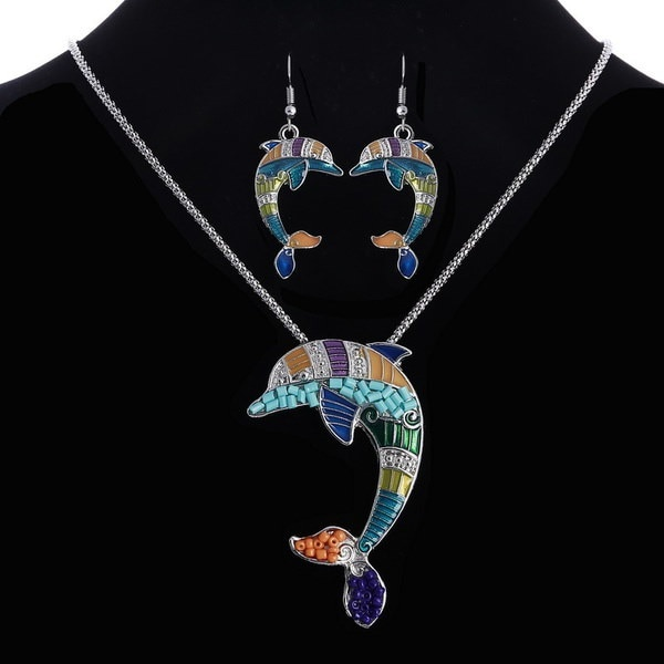 新しいハンドメイドゴールドシルバークジラペンダントネックレスとイヤリングセット女性ジュエリー