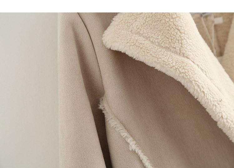 秋冬 レトロ 切り替え レディース ゆったり  毛皮のコートpu皮一体 アウタートップス  お洒落 秋冬 防寒 雪 オフホワイト