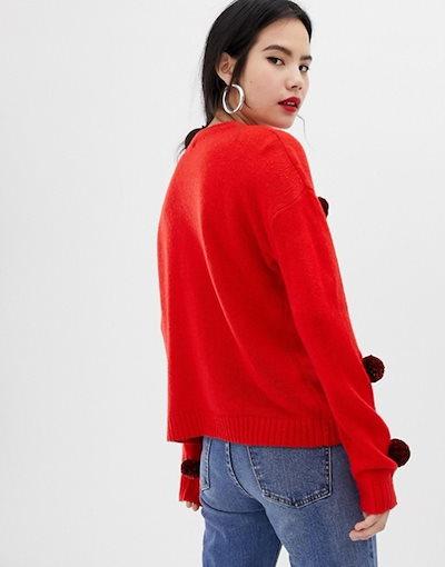 ブレーブソウル レディース ニット・セーター アウター Brave Soul sweater with tinsel pom poms