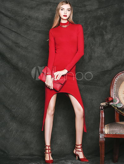 Sexy Red Asymmetrical Party Dress for Woman