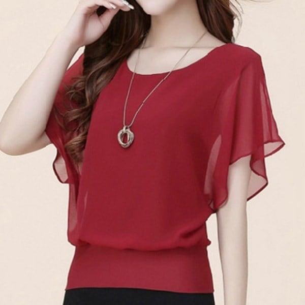 Fashion Casual Plus Size Slim Bat sleeve Chiffon Shirt Women Blouse Blusas Women Tops Clothing