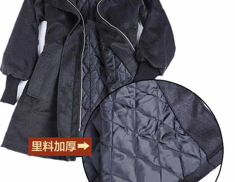 xs-6xl时尚秋冬大码女装收袋风衣女加厚斗篷中长款毛呢外套大衣