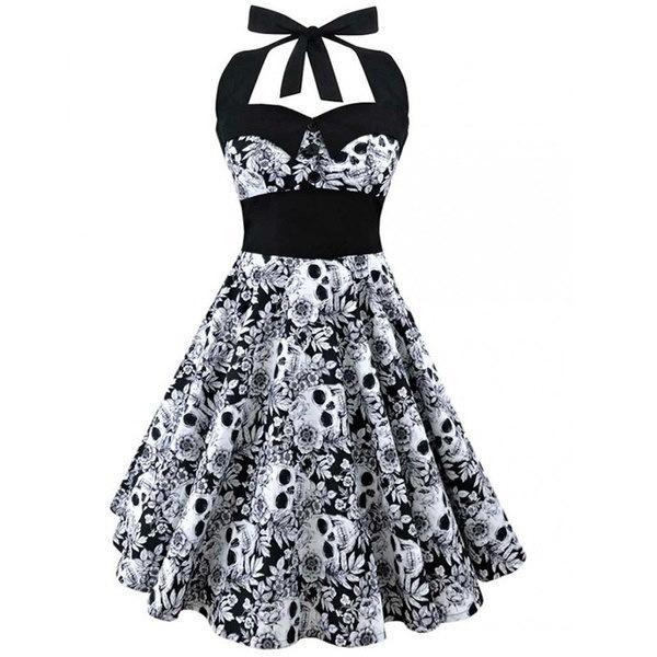 女性のヴィンテージブラックホワイトポルカドットススカルプリントパッチワークドレスClassy Audrey Hepburn 1950s Rocka