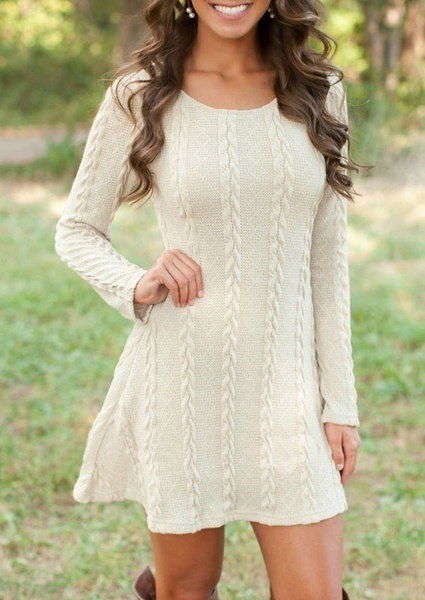 Winter Womens  Long Sleeve Jumper Tops Knitted Sweater Tunic Short Skirts Swearter Dress