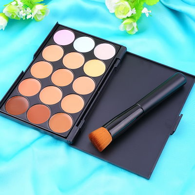 New 15 Colors Contour Face Cream Makeup Party Concealer Palette+ Brush Flat Angled Brush