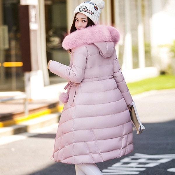 2017冬の女性のフード付きコート毛皮の襟厚いウォームロングジャケットパーカーダウン