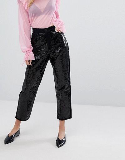 モンキ レディース デニムパンツ ボトムス Monki Taiki Sequin Slim Mom Jeans
