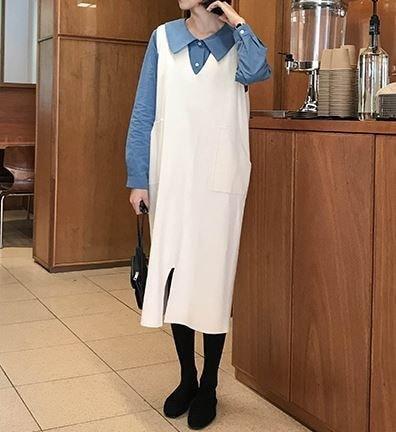 深めVネックですっきり魅せ♡ニット ベストワンピースドレス ポケット付き フロントスリット レトロ カジュアルガーリー キュート デイリーユース