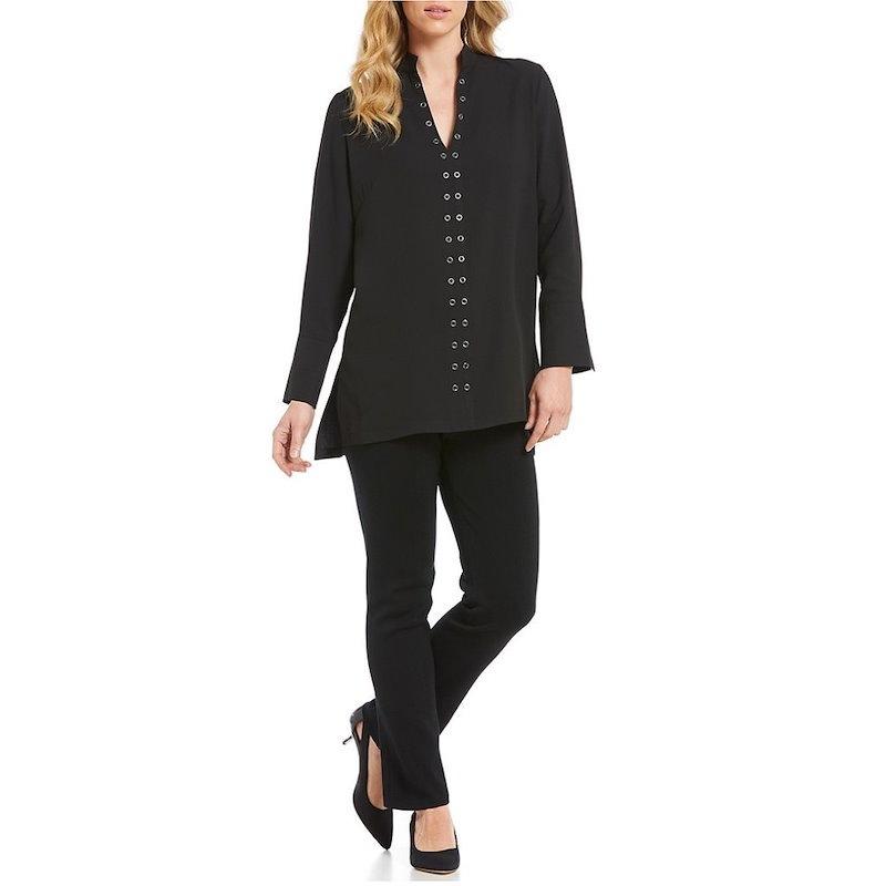 ミンウォン レディース トップス ブラウス・シャツ【Ming Wang Mandarin Collar Grommet Embellished Shirt】Black
