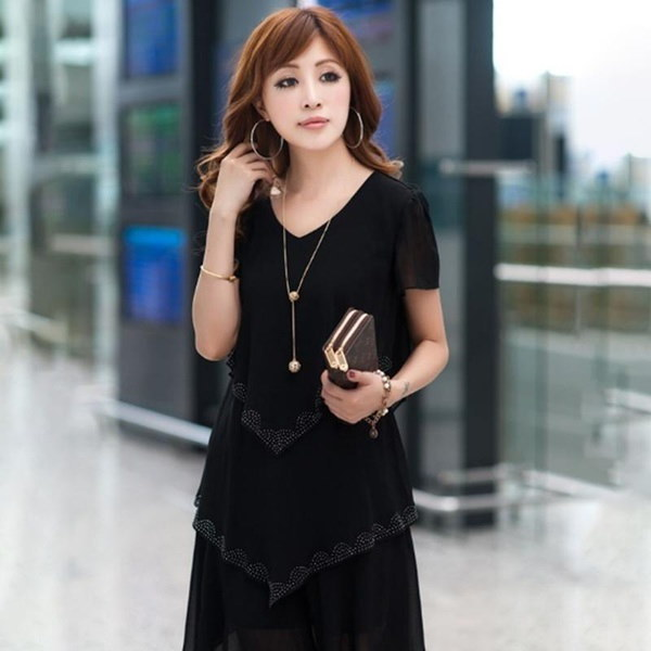 レディース夏ファッションプラスサイズスリムショーツ薄い半袖Vネックピュアカラーラインストーンファルバラ