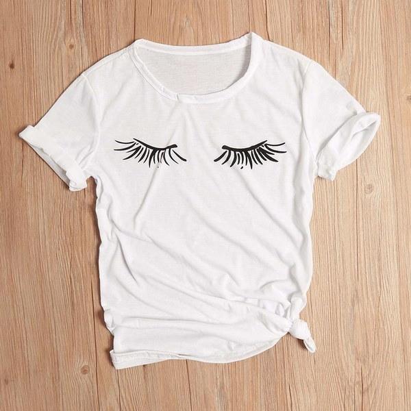 まつげプリント半袖Tシャツ女性のためのファッションかわいいグレーのトップス