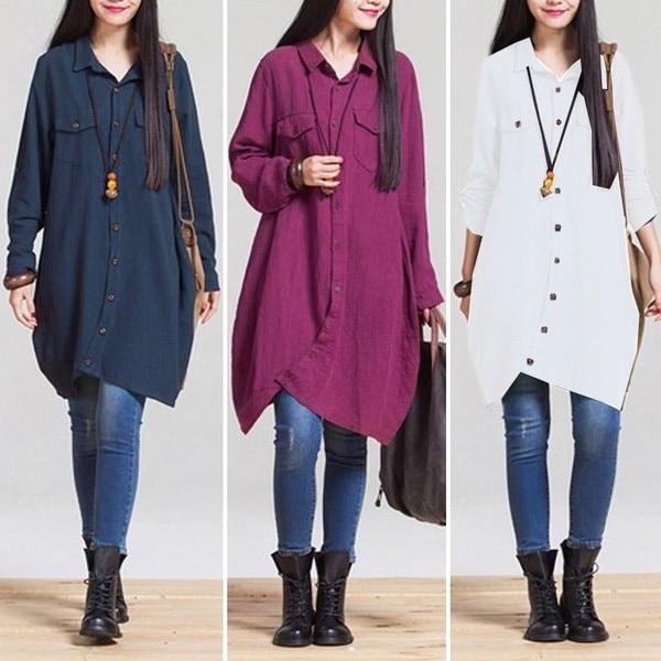プラスサイズファッション女性ラペルネックロングスリーブバギールーズレトロTシャツトップブラウスシャツドレス