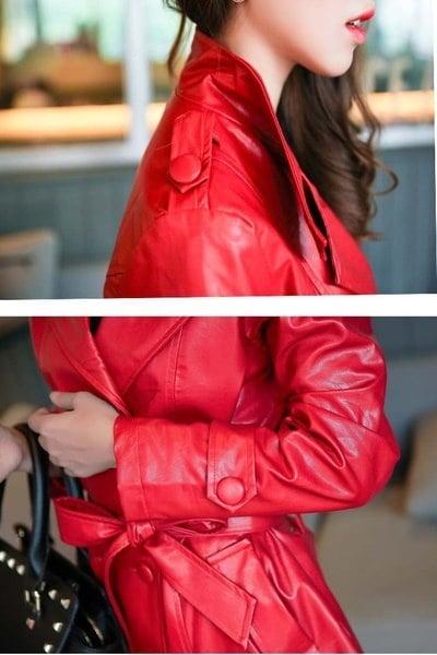 VANGULLブランドの女性レッドとブラックPUレザーロングセクション気質シンプルなレザージャケットM〜5XL