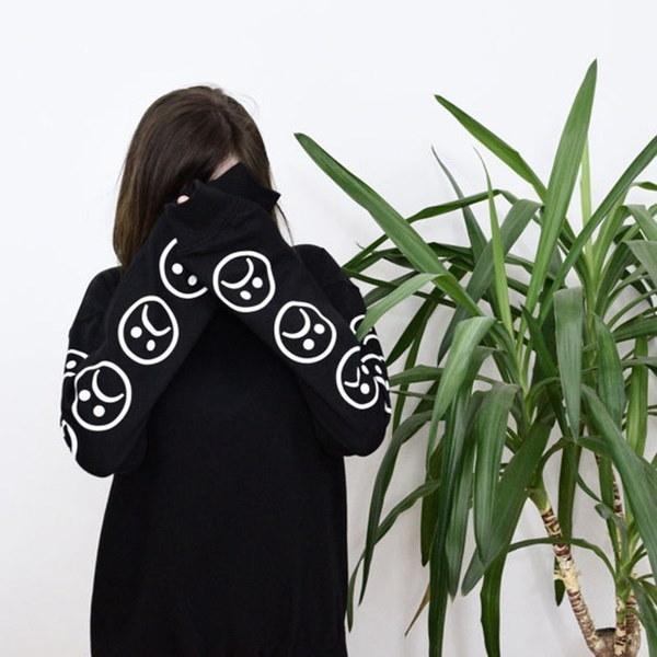Tumblr Hoodies Winterトラックスーツ服Sad Faces顔文字スリーブプリントキーボードスウェット