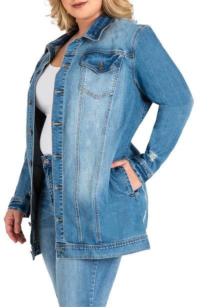 スタンダーズ アンド プラクティス レディース ジャケット・ブルゾン アウター Standards & Practices Margot Longline Denim Jacket (Plus Siz