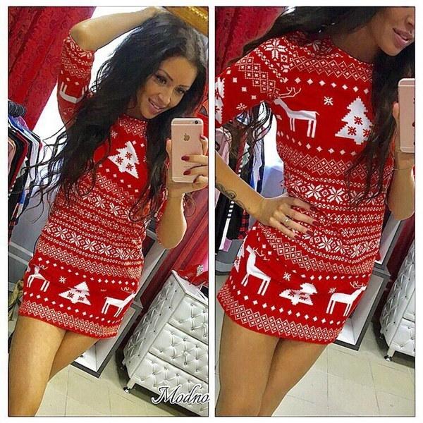 2017クリスマスレディースセクシーディアープリントスリムフィットセータードレス