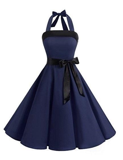 Women Vintage Strapless Retro Prom Dresses Patchwork Color Block Lace-Up Dress S-5XL