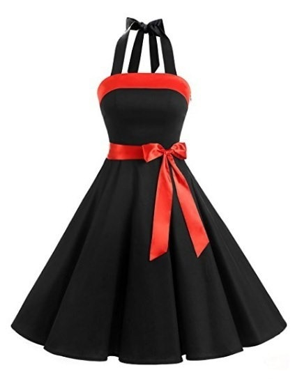 Women Vintage Strapless Retro Prom Dresses Patchwork Color Block Lace-Up Dress S-5XL