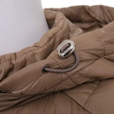 Simple Fashion Mandarin Collar Long Sleeves Detachable Hood Medium-Long Parkas Pure Color Hooded Down Jacket Cotton-Padded Coat for Women