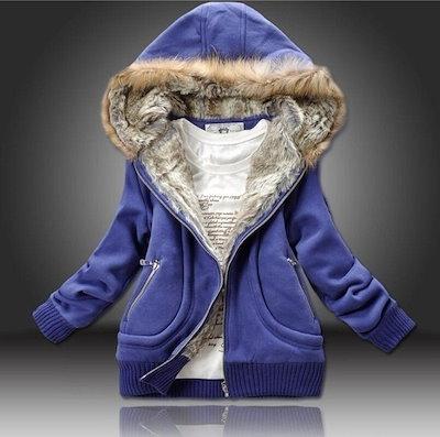 秋と冬のファッション暖かい純粋な綿のセーター厚い高品質のぬいぐるみ帽子毛皮の襟のジャケット