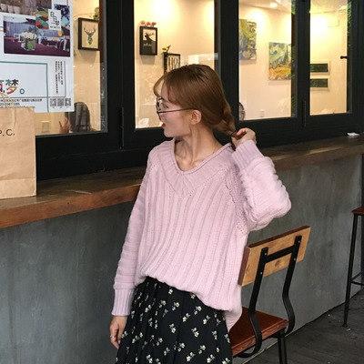 秋服/新しいデザイン/韓国風/アンティーク調/Vネック/ヘッジ/単一色/長袖セーター/ボトム/アウトドア/セーターの女性