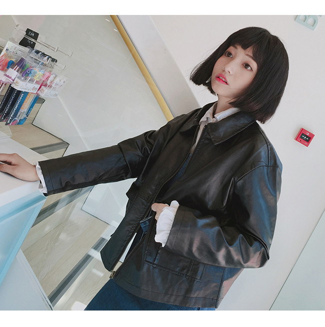 春秋 レディースジャケット レザージャケット 韓国ファッション  ライダース 革ジャン レディースファッション  PU革 アウターコートフェイクレザー