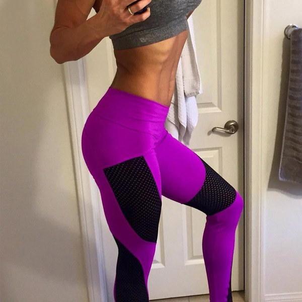 女性のファッションパンツネット糸スプライシングタイトなパッケージヒッププリントヨガスポーツレギンス
