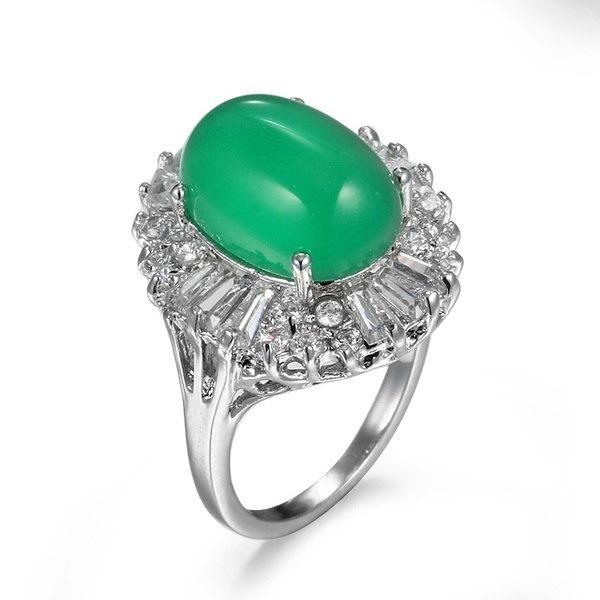 ファッション女性925スターリングシルバーナチュラルジェイド宝石婚約指輪