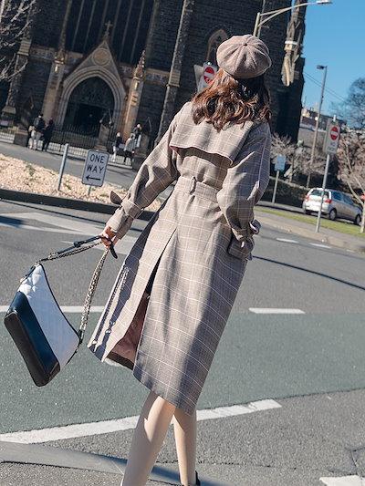 春物 売れ筋 おすすめ コート ロング トレンチ ダブルブレスト チェック 学生 デート 可愛い 上品 優しいQA1296
