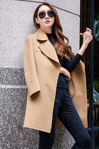 ラシャコート スリム レースアップ 防寒保暖 厚手 無地 ベルト付属 ファッション イギリススタイル