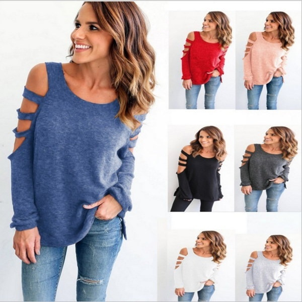 Women s  Round neck Cold Shoulder Long Sleeve Casual T-shirt  color White, gray, black, light gray