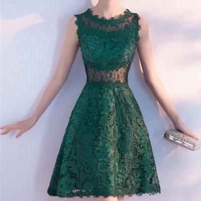 ノースリーブ ミニ レース ドレス 結婚式 披露宴 パーティー 衣装 ダークグリーン