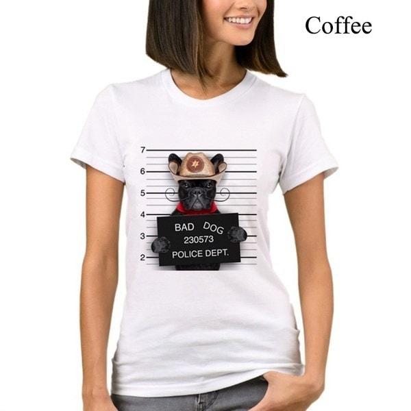 2017レディースファッションフレンチブルドッグデザインTシャツノベルティトップスレディーbad pugプリントショートスリーブTシャツ