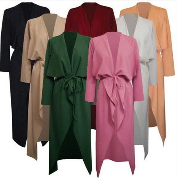 レディースマキシコートVネックアシンメトリーウォーターフォールベルト付きロングスリーブコートジャケットトレンチファッションコート