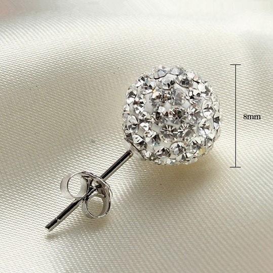 新しい女性のファッションガールズトレンディングラインストーンのペアCZフラワーバドボールスタッドピアス、ダイヤモンド&