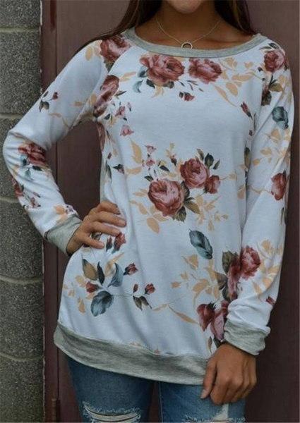 女性のファッション秋の花プリントロングスリーブブラウスラウンドネックセーターステッチトップスコットンC