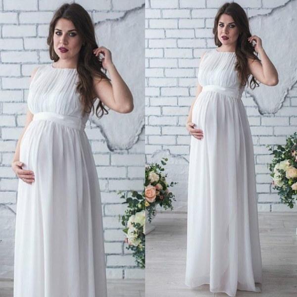 カジュアルノースリーブオフショルダーハイウエストプリーツ包帯マキシルーズマタニティ妊婦ドレス