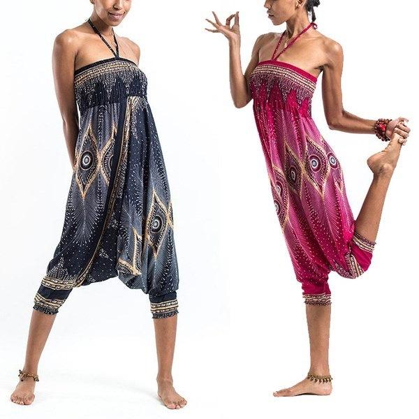女性のファッションBohoプリントパンツカジュアルなHaremヒッピージャンプスーツパンツヨガパンツ