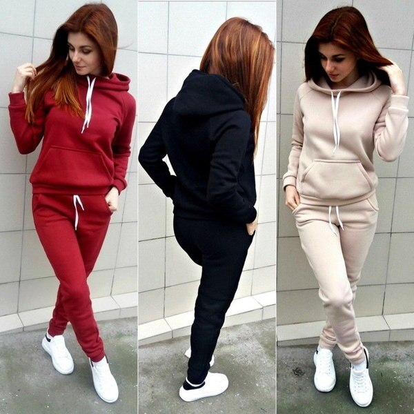 Women 2pcs Tracksuit Coat+Pants Casual Sport Suit Letter Print Hoodie Sweatshirt