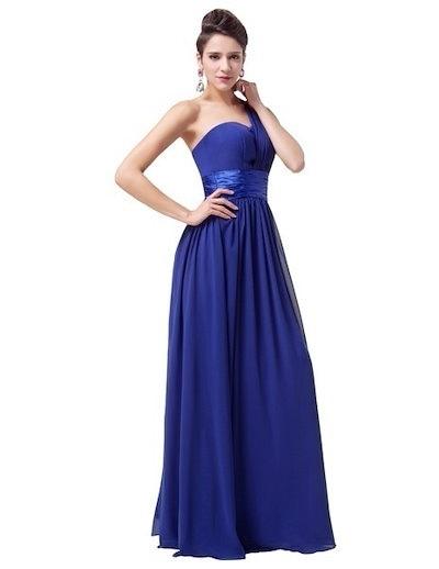 Grace Karin Stock Blue Long Chiffon Elegant Formal Evening Gown Dress