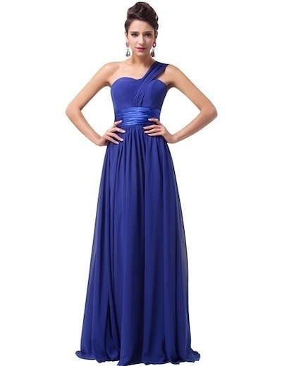 Grace Karin Stock Blue Long Chiffon Elegant Formal Evening Gown Dress