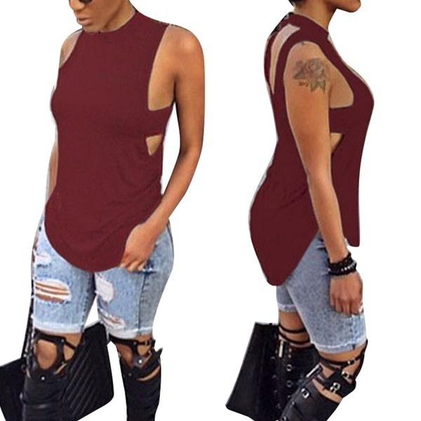 タンクシャツノースリーブサマールーズカジュアルレディースレディーストップスベストブラウスファッション